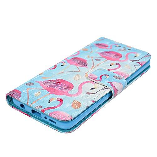 Funda para Samsung Galaxy S9 Libro de Cuero Con Tapa y Cartera Carcasa PU Cuero Con TPU Silicona Case Interna Suave Soporte Plegable Ranuras para Tarjetas y Billetera Cierre Magnético - VISPOW Flamenco
