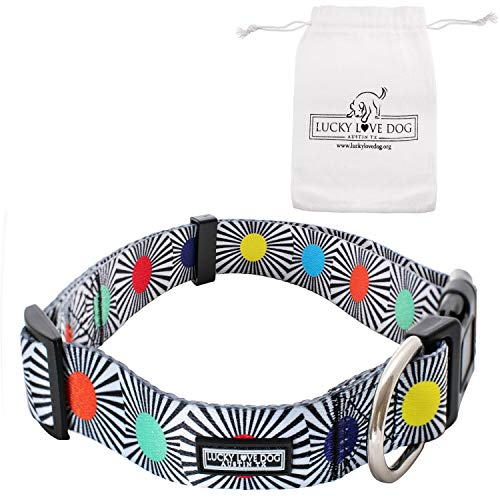 Lucky Love Dog Collars | Cute Dog Collar for Boy or Girl Dogs | Part of Purchase Donated to Dog Rescue (SOCO, Medium) ()