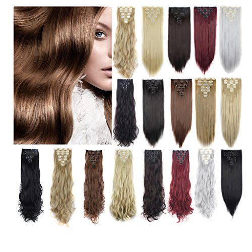 Haironline 3-5 Days Delivery Double weft 7 pieces Clip in Synthetic Hair Extensions 23