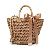 Womens Straw Summer Beach Shoulder Bag Tote Handbag Cotton Lining Top Handle Hobo Handbag for Girls (Brown)