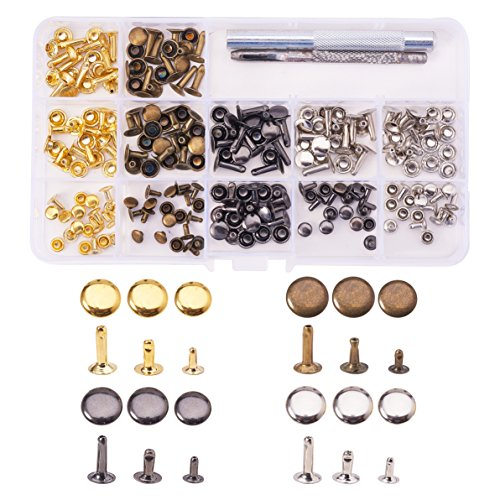 - PandaHall Elite 120 Set Flat Round Rivets Single Cap Rivet Tubular Iron Studs Snap Buttons 3 Sizes with Fixing Tool Kit for Leather Craft Repairs Decoration Mixed Color