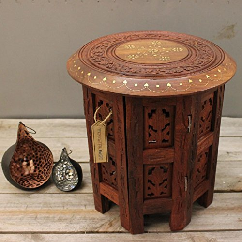 30cm Small Side Table Wooden Round - Hand Carved and Brass Inlay by CE Hand Made Items
