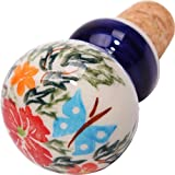Polish Pottery Ceramika Boleslawiec, 0804/238, Wine Stopper, 2 3/4 High by 1 1/2 Inches in diameter, Royal Blue Patterns with Red Cornflower and Blue Butterflies Motif