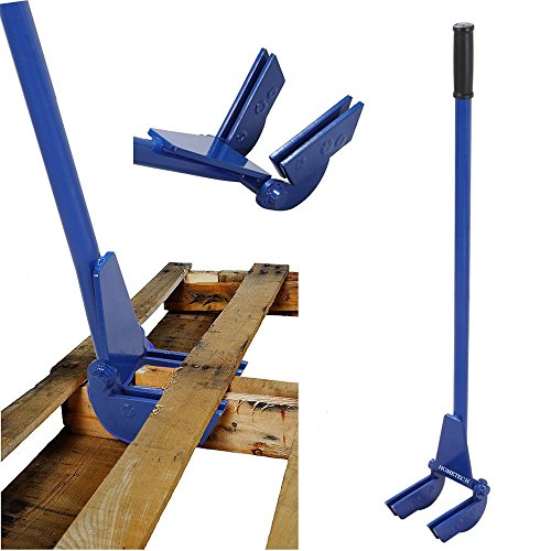 (Premium Iron Frame Steel Pallet Buster Double fork Nail Puller Deck Board with Handle Blue -Weight 15.94 Lbs Easy Grip Ergonomic Design Labor & Time Saving | for Wood Slide and Structure Dissemble)