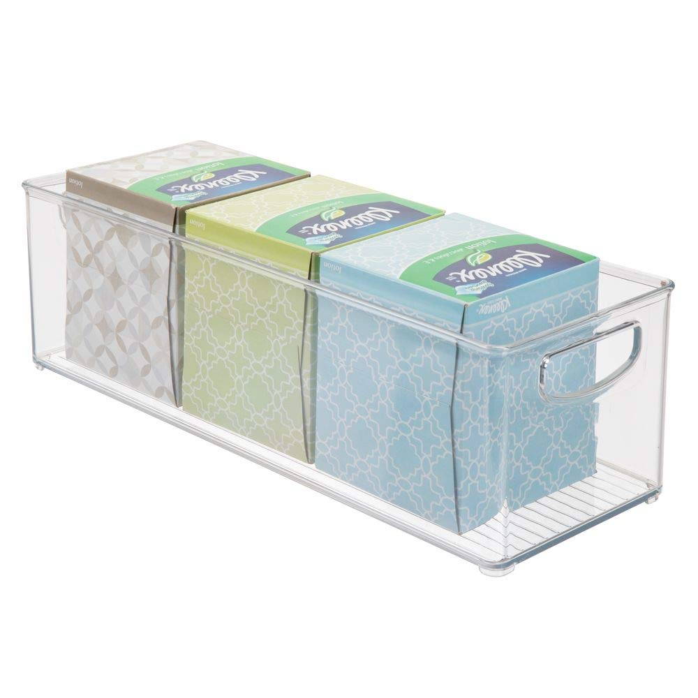 mDesign Storage Bins with Built-in Handles for Organizing Hand Soaps, Body Wash, Shampoos, Lotion, Conditioners, Hand Towels, Hair Accessories, Body Spray, Mouthwash - 16'' Long, 4 Pack - Clear by mDesign (Image #8)