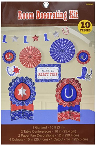 amscan Western Party Room Decorating Kit (10 Piece), Multi Color, 15.6 x 10.8