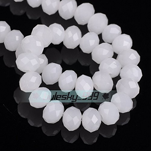 Jade White 8X6mm 30pcs Rondelle Faceted Crystal Glass Loose Spacer Beads Wholesale 3mm/4mm/6mm/8mm/10mm