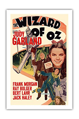 Pacifica Island Art The Wizard of Oz – with Judy Garland – Vintage Film Movie Poster c.1949 – Premium 290gsm Gicl e Art Print – 24in x 36in