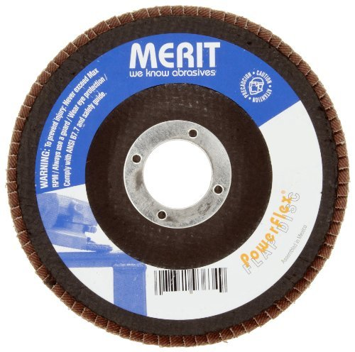 Merit Powerflex Contoured Abrasive Flap Disc, Type 29, Round Hole, Fiberglass Backing, Zirconia Alumina, 5 Dia., 24 Grit (Pack of 10) by - Flap Disc Powerflex Abrasive
