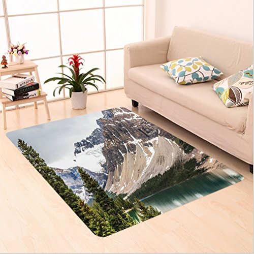 Nalahome Custom carpet cana Landscape Decor Alberta Rocks with Ranges Composed of Shale Limestone Hill Places Grey Blue area rugs for Living Dining Room Bedroom Hallway Office Carpet (24