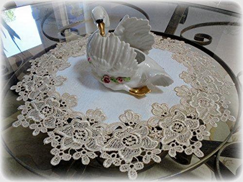 "Galleria di Giovanni 16"" Rose Lace Soft Gold & White Ivory Doily Vintage Design"