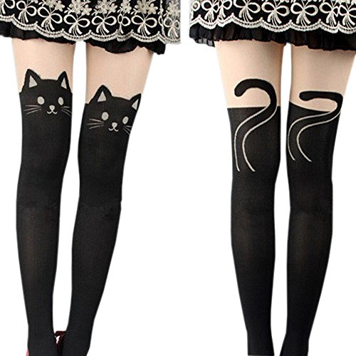 Sanwood Women's Fun Pattern Printed Tattoo Pantyhose Stockings Tattoo Legging Tights (Cat)