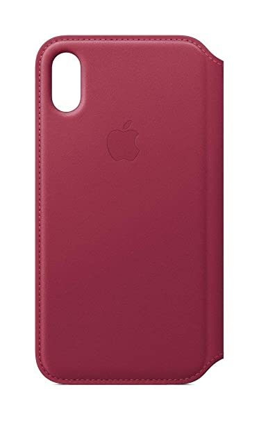 innovative design dabc2 75dd5 Apple iPhone X Leather Folio - Berry (Renewed)