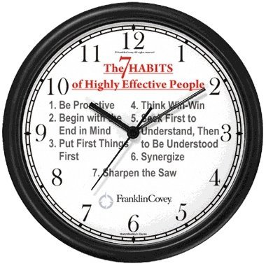 All of THE 7 HABITS #1 (English Text) - Wall Clock from THE 7 HABITS - CLOCK COLLECTION by WatchBuddy Timepieces (White Frame)