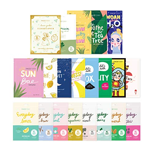 FaceTory Face Sheet Mask Bundle with 21 Facial Korean Skin Care Sheet Masks | Hydrating, Radiance Boost, Calming, Moisturizing, Balancing