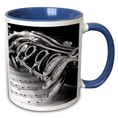 3dRose 4107_6 Clarinet - Two Tone Blue Mug, 11 oz, Multicolored