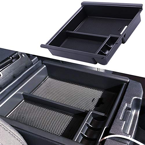 Center Organizer - JDMCAR for Toyota Tacoma 2016 2017 2018 2019, Center Console Organizer Insert ABS Black Materials Tray, Armrest Box Secondary Storage