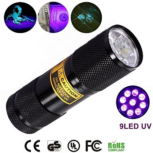 Bright Eyes 2-PACK - Best Black Light - Top UV Pet Urine Stain Detector - Head Lice or Bed Bug Revealer (Aluminum, 9 LED) by Bright Eyes (Image #2)