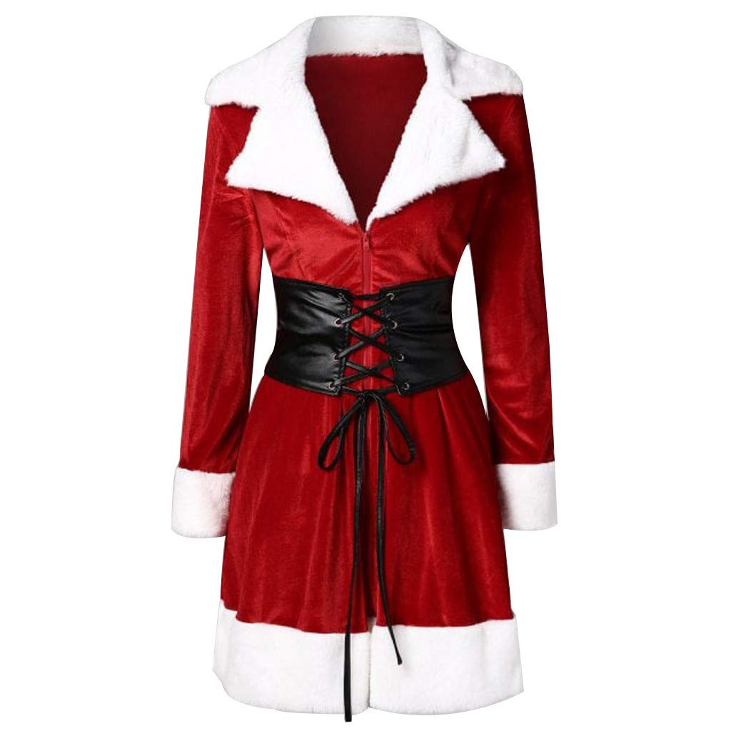 Women Santa Coat Christmas Faux Fur Jacket Velvet Coat with Belt HHmei HHmei_Coats_8Nov21_137