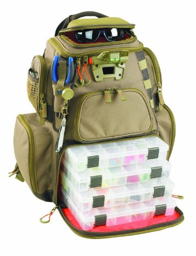 Wild River Fishing Backpack. Custom Leathercraft Wild River by CLC WT3604 Tackle Tek Nomad Lighted Backpack with Four PT3600 Trays