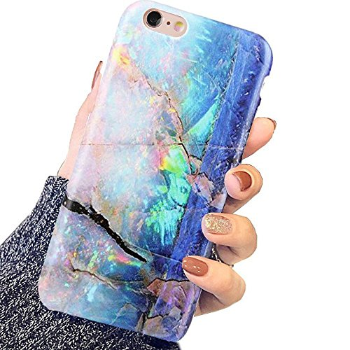 DICHEER iPhone 6 Plus Case,iPhone 6s Plus Case,Blue Green Gold Opal Marble Women Protective Slim Fit Clear Bumper Glossy TPU Soft Rubber Silicon Cute Cover Phone Case for iPhone 6 6s Plus