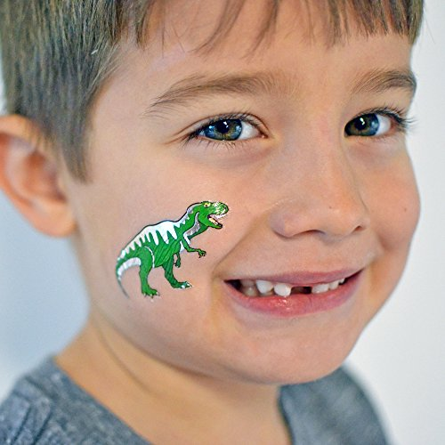 Dinosaur Variety Set includes 25 assorted premium waterproof colorful metallic kids temporary foil Fun Tats by Flash Tattoos, party favor by Flash Tattoos (Image #3)