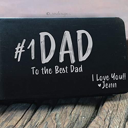 Number One Dad Money Clip- Gift For Daddy Engraved Father's Day Gift Custom Metal Wallet For The #1 Dad Engraved Money Clip For Him
