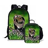Dellukee Durable Children School Backpack Set Boys Girls Lunch Bag Snake Print