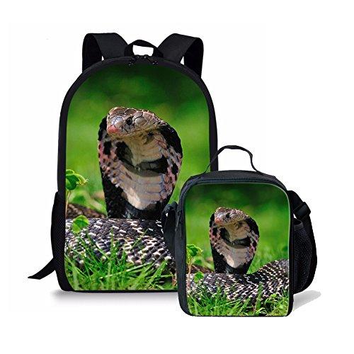 Little Kid Snake Girl - Dellukee Durable Children School Backpack Set Boys Girls Lunch Bag Snake Print