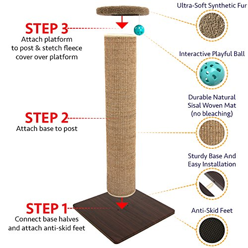 Kitty-City-Premium-Woven-Sisal-Carpet-Scratching-Post-Fleece-Bed-Furniture-Total-Height-32-Inches