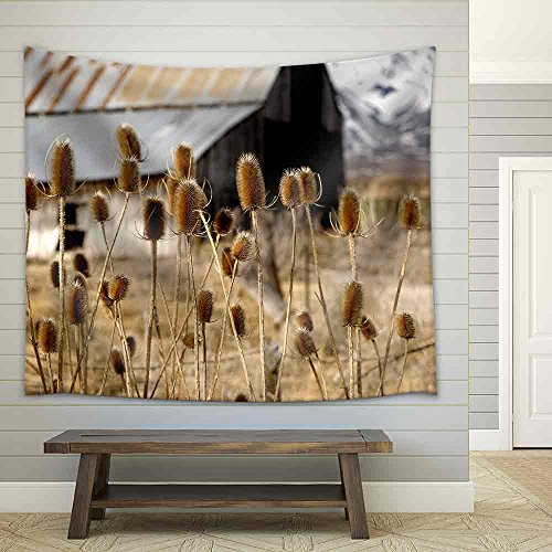 Nice Image of the Thistles on the Plains in Yellowstone Park Fabric Wall Tapestry