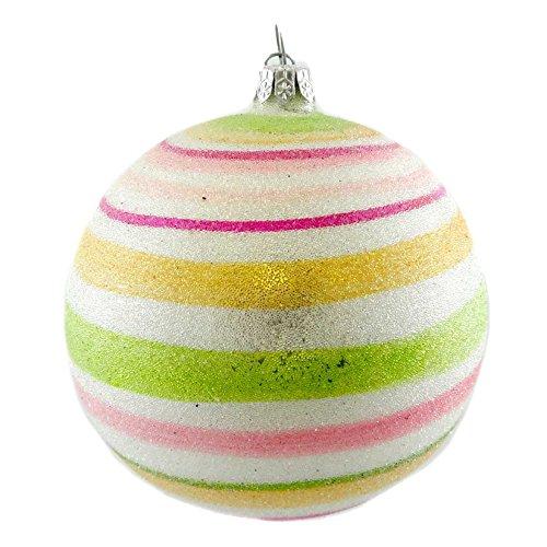 Holiday Ornament SUGAR STRIPE BALL Blown Glass Glitterville Dept 56 29135