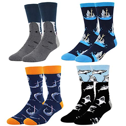 Men's Novelty Funny Shark Whale Crew Socks, Christmas Fun Gift Idea for Shark Lover, 4 Pack with Gift Box -