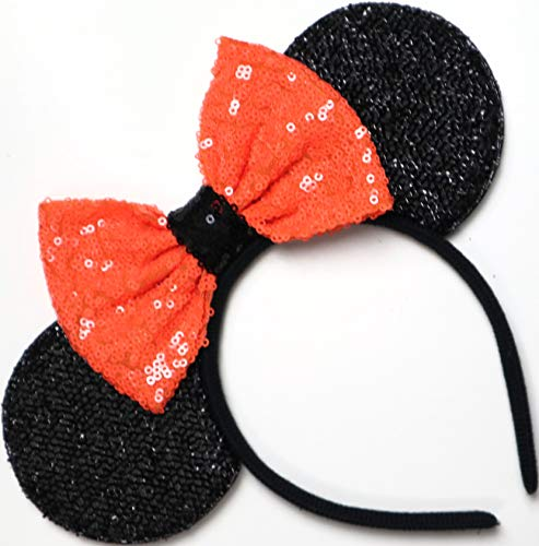 CLGIFT Halloween Orange Mickey Ears, Halloween Orange Minnie Ears, Mickey Ears, Halloween Disney Ears,one Size fits All -