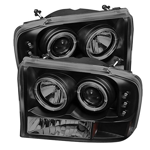 Ford F250 Super Duty / Ford Excursion 1PC Projector Headlights Version 2 LED Halo LED Black Housing With Smoke Lens + Free Gift Universal DRL 6 White LED Lights - Excursion Halo Projector Headlights