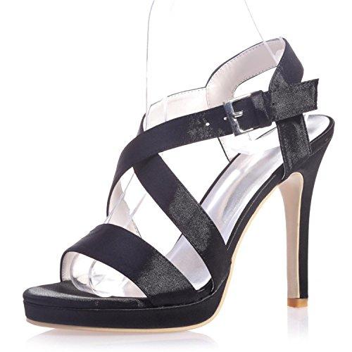 L@YC 5915-22 Tacones altos / Cómodo PU / Peep Toe / Fiesta nocturna y Confort casual / Variedad de colores Black