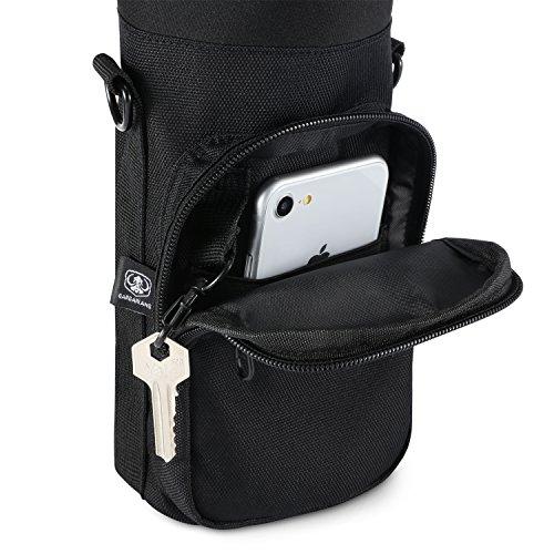 Water Bottle Carrier Pouch Holder With Adjustable Shoulder Hand Strap 2 Pockets