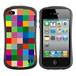 Suave TPU GEL Carcasa Funda Silicona Blando Estuche Caso de protección (para) Apple Iphone 4 / 4S / CECELL Phone case / / Checkered Vibrant Colors Texture /