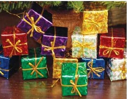 (Factory Direct Craft Lot of 48 Miniature Assorted Foil Gift Boxes for Christmas & Holiday Decorating (3/4