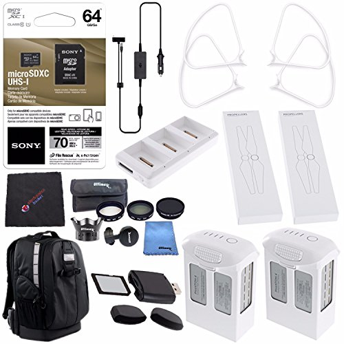 DJI Phantom 4 Extra Flight Pro Accessory Bundle: Polar Pro Drone Trekker Backpack for Phantom Series + Phantom 4 Series Intelligent Flight Battery 5870mAh + DJI Charging Hub + Sony 64GB Card & MORE!! by ElectronicsBasket