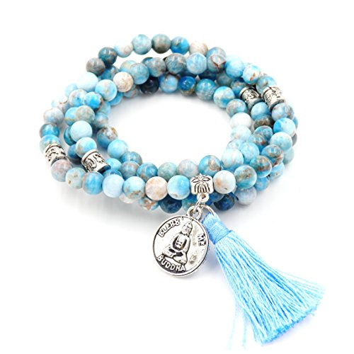 - Mala Beads Bracelet, Buddhist Mala Prayer Beads, Buddha Bless Me Statement Necklace (Apatite)