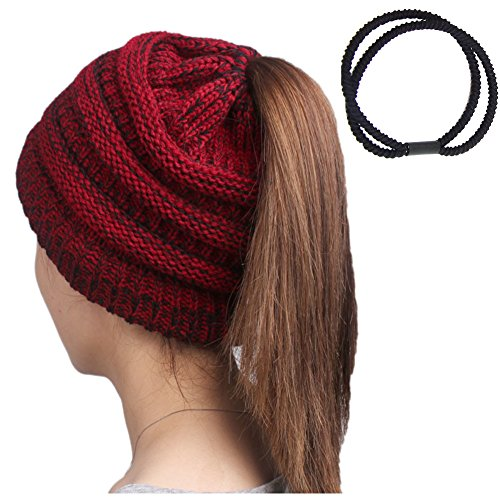 Pony Tail Beanies Hat for Women Lady Soft Chunky Knit Hats Girl Slouchy Ribbed Bun Beanies Warm Autumn Winter Skull Cap Red with Black Trendy Crochet Skullies with a Ponytail Holder (Children Save Hats Knit)