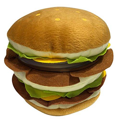Lzttyee Plush 40 Capacity Hamburger Design CD Storage Holder Creative Cartoon DVD Wallet Case for Home Car Decor