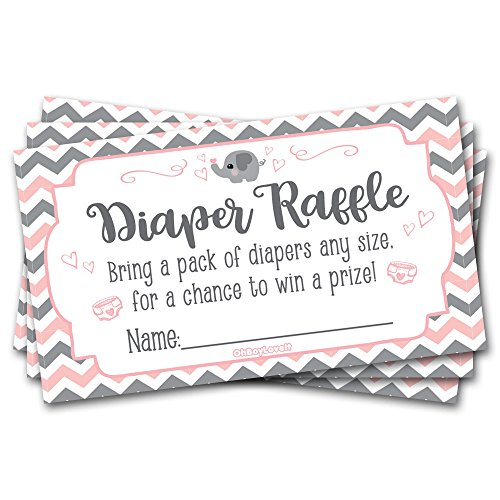50 Diaper Raffle Tickets for Baby Shower Elephant (Pink, Grey) Theme -Girl Chevron Baby Shower Game Activity