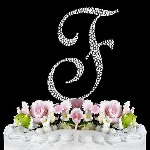 Completely Covered Swarovski Crystal Silver Wedding Cake Toppers ~ LARGE Monogram Letter (Swarovski Wedding Cake)