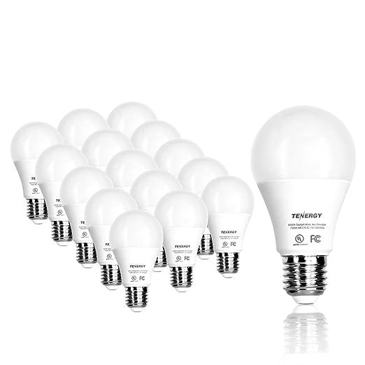 buy popular 751fd f20ae Tenergy LED Light Bulb, 9 watts Equivalent A19 E26 Medium Standard Base,  5000K Daylight White Energy Saving Light Bulbs for Office/Home (Pack of 16)