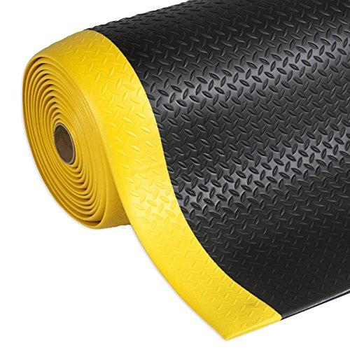 Anti Ermüdungsmatte Dyna-Protect   Diamantstruktur   Arbeitsmatte   schwarz-gelb   mit Warnstreifen   90x150 cm