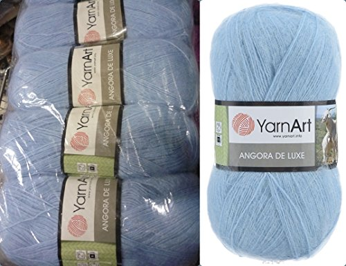 (70% Mohair 30% Acrylic Yarn Mohair Angora Wool Yarn YarnArt Angora De Luxe Thread Crochet Lace Hand Knitting Craft Art 4skn 400gr Color Light Blue Sky)