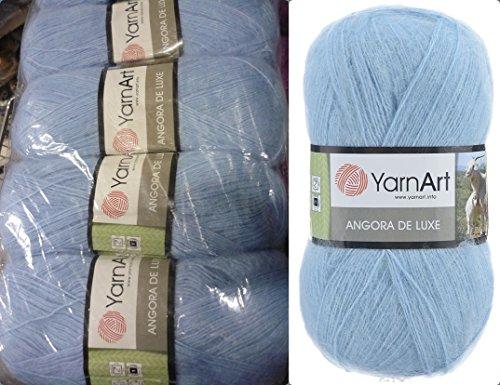 70% Mohair 30% Acrylic Yarn Mohair Angora Wool Yarn YarnArt Angora De Luxe Thread Crochet Lace Hand Knitting Craft Art 4skn 400gr Color Light Blue Sky ()