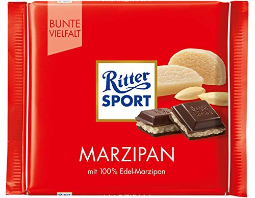 Ritter Sport Marzipan Dark Chocolate Bar Candy Original German Chocolate 100g/3.52oz